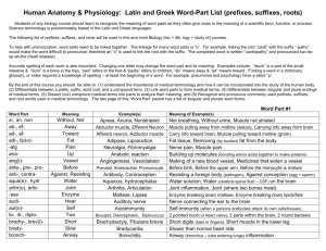 Human Anatomy & Physiology: Latin and Greek Word