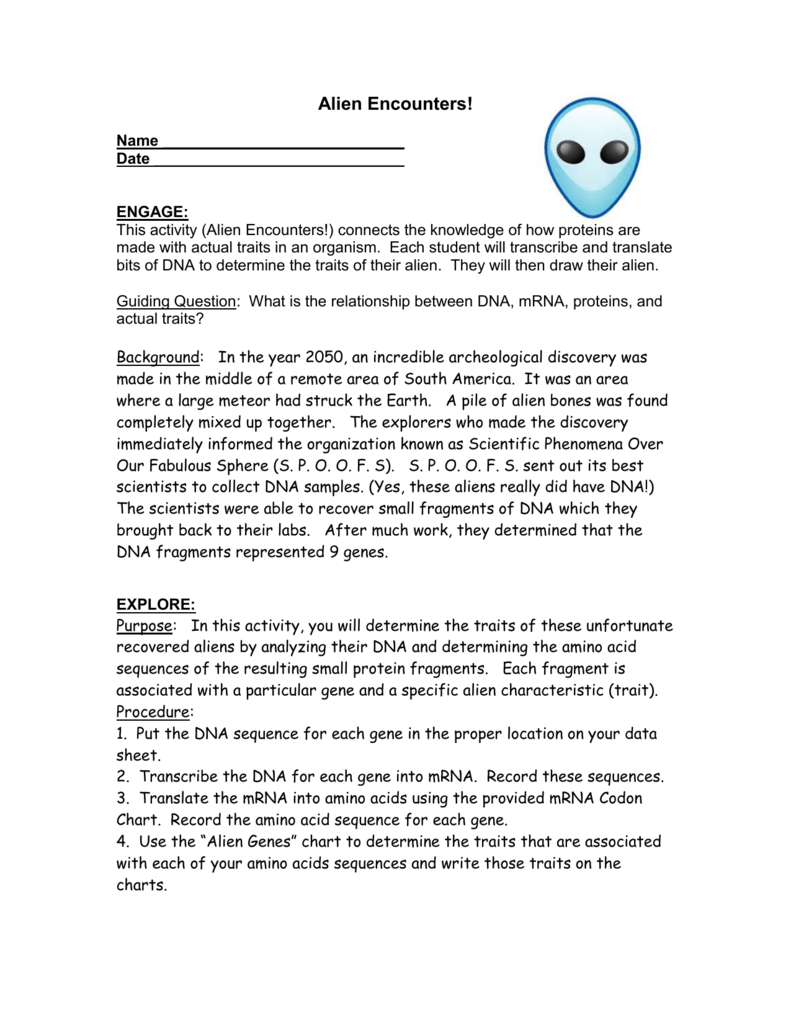 worksheet How Proteins Are Made Worksheet Answers alien encounters