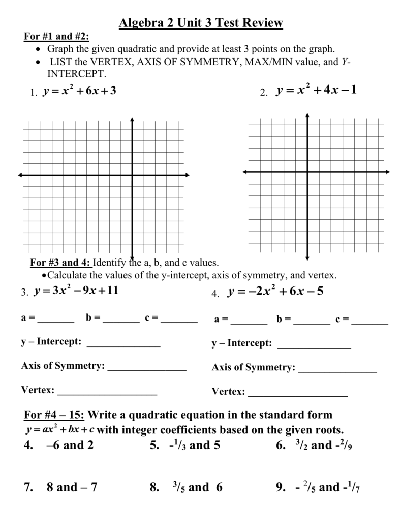 Honors algebra 2 unit 3 test review falaconquin