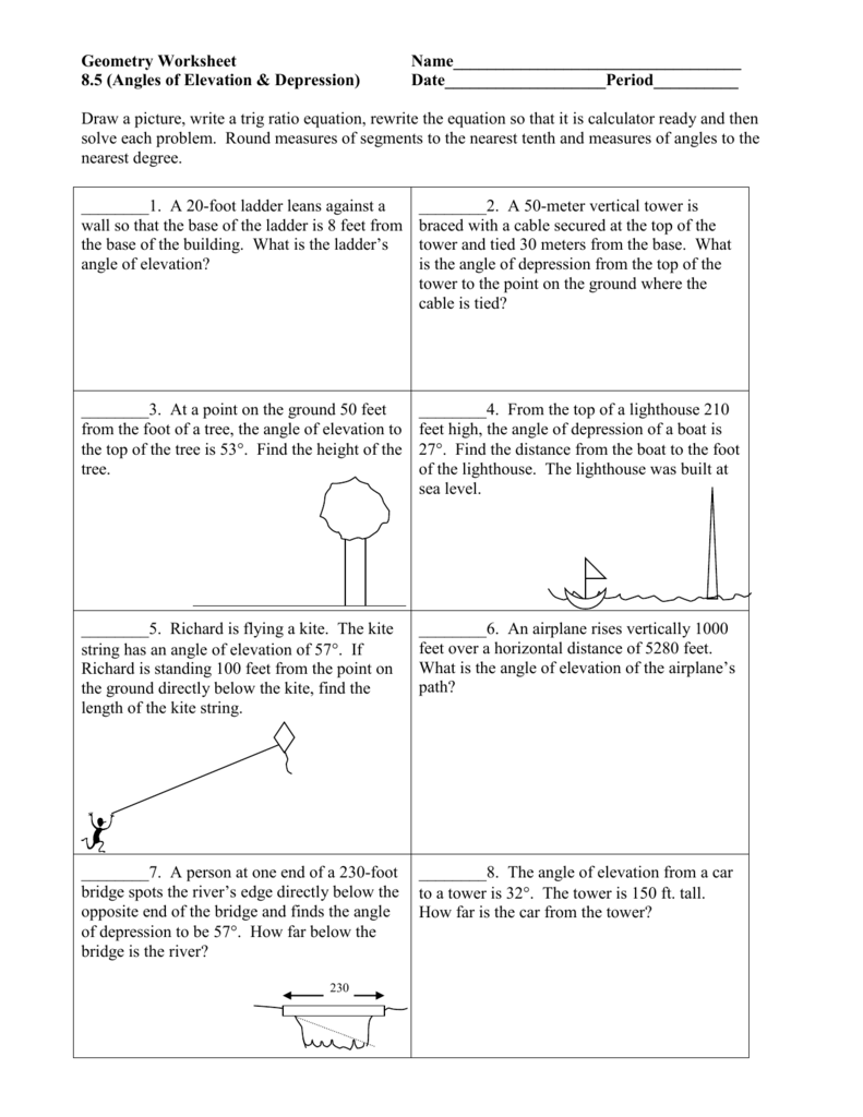 worksheet Angles Of Elevation And Depression Worksheet Answers angles of elevation depression