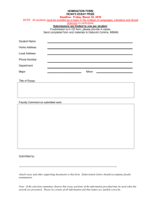 Dean`s Essay Award Nomination Form
