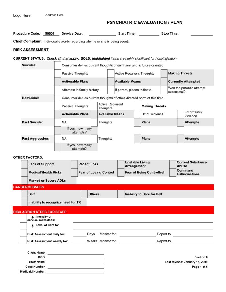 Psychiatric Evaluation Form Gencmh Org
