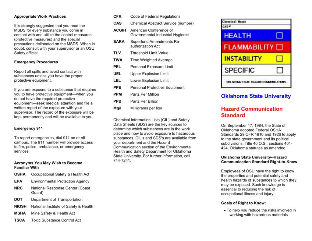 Hazcom Brochure - Oklahoma State University