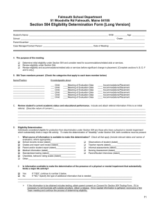 Section 504 Eligibility Determination Form