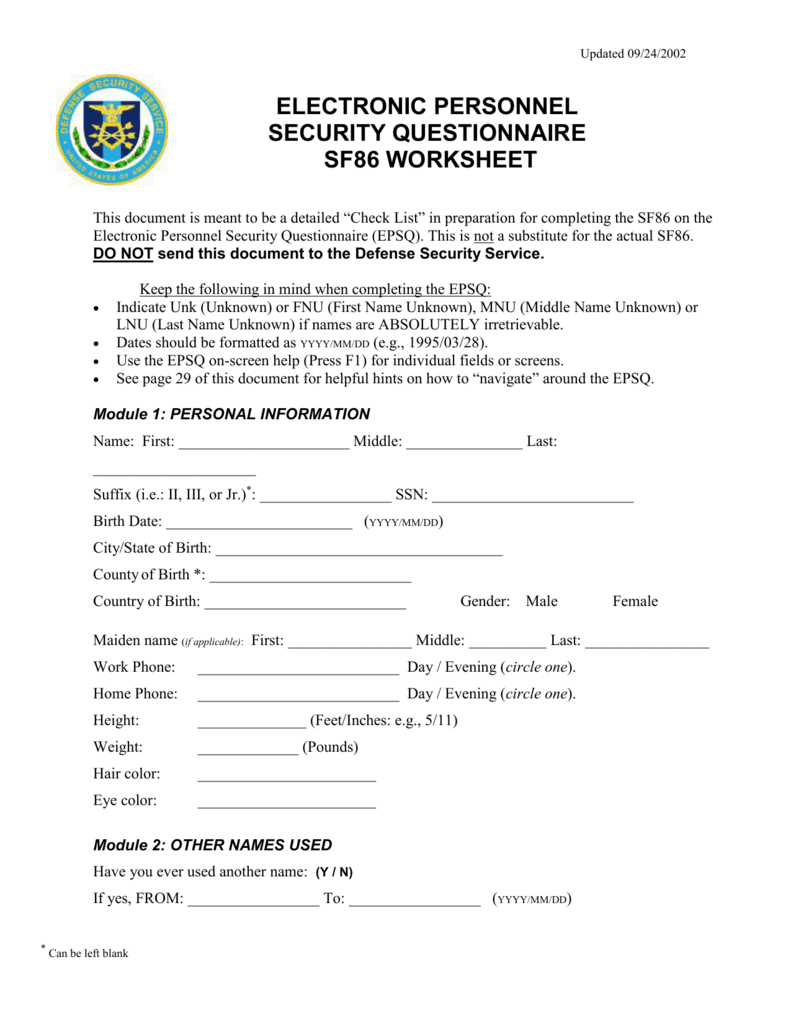 Worksheets Sf 86 Worksheet epsq sf86 worksheet