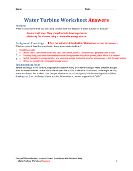 Water Turbine Worksheet Answers