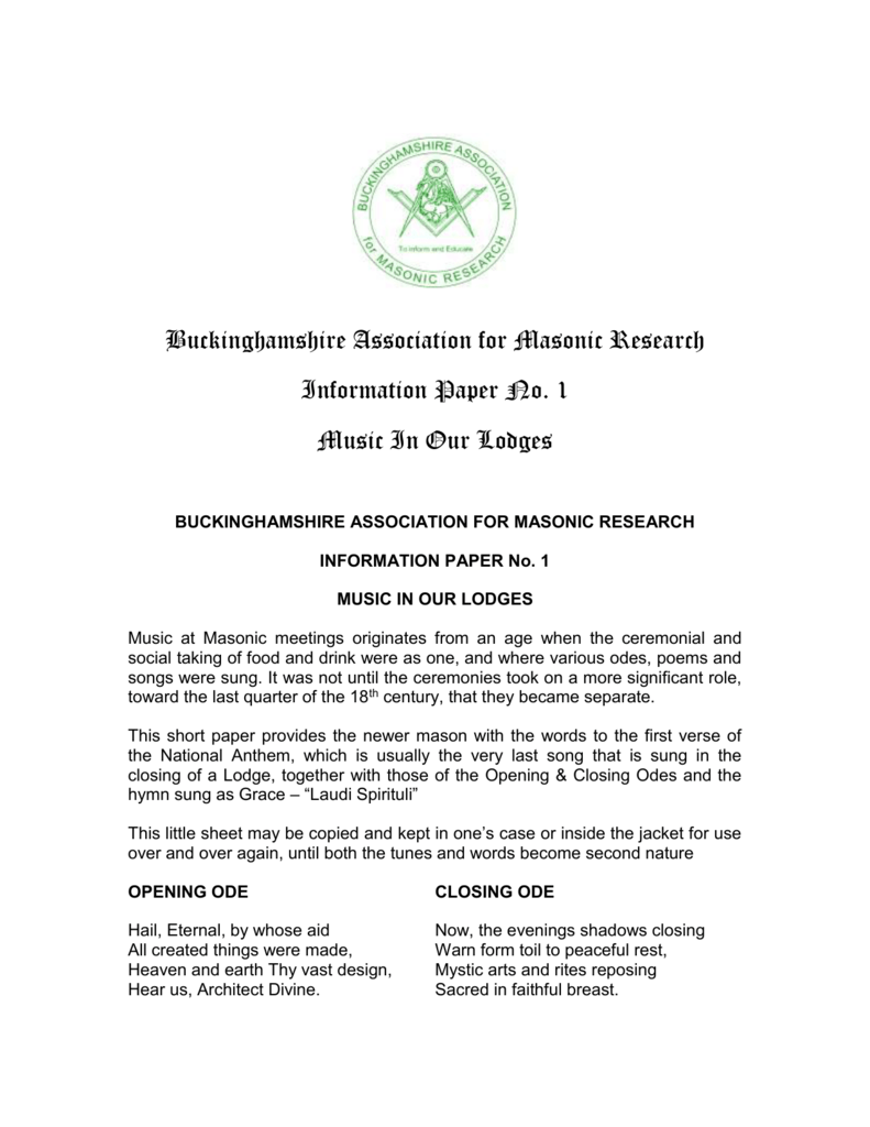 BAMR IP No  01 Music - Buckinghamshire Association for