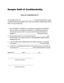 Sample Oath of Confidentiality