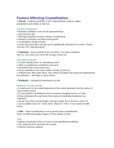 Factors Affecting Crystallization