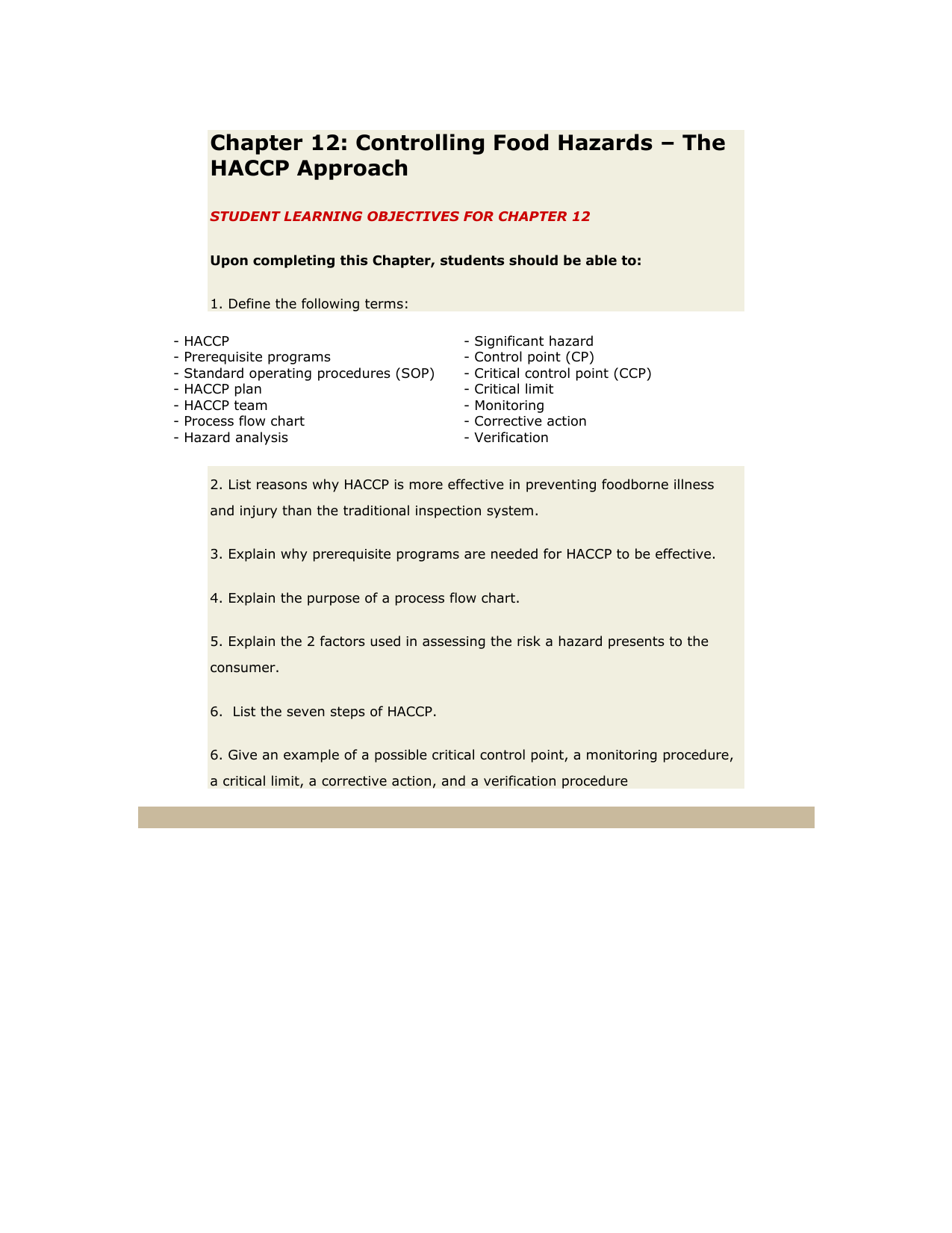 Chapter 12 Controlling Food Hazards The Haccp Approach