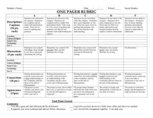 ONE PAGER RUBRIC
