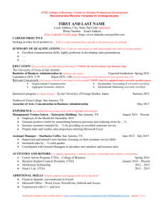 Sample Resume - UTSA College of Business | Undergraduate … file