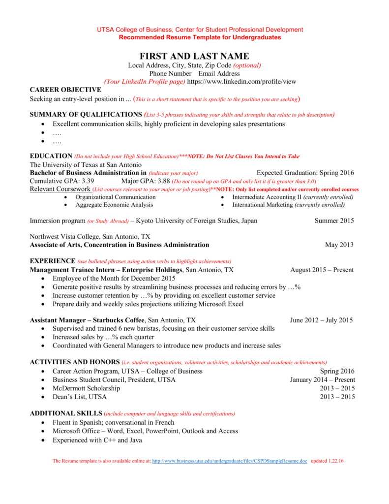 Sample Resume Utsa College Of Business Undergraduate File