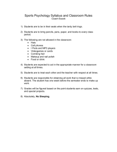 Sports Psychology Syllabus and Classroom Rules