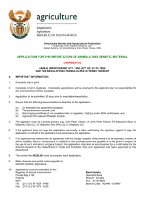 Application for the Importation of animals and genetic material