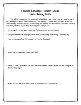 "Teacher Language ""Expert Group"" Note"