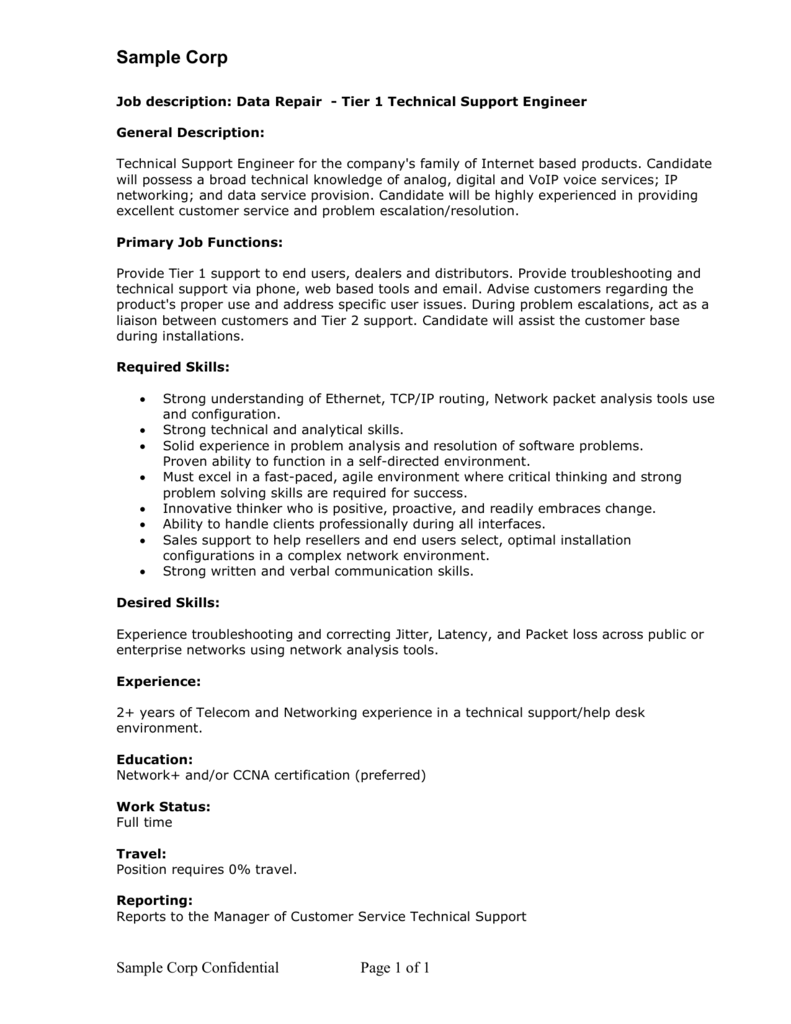 Help desk support job description