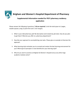 Brigham and Women`s Hospital Department of Pharmacy