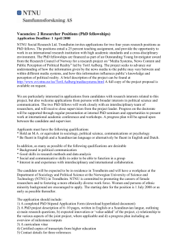 Vacancy: Researcher Position (PhD fellowship)