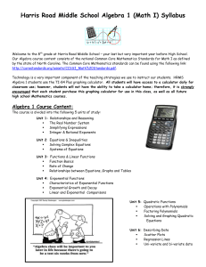 Jefferson Middle School Algebra 1 Syllabus
