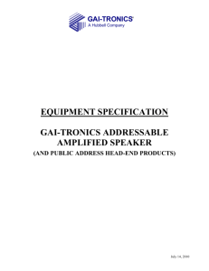 EQUIPMENT SPECIFICATION - GAI