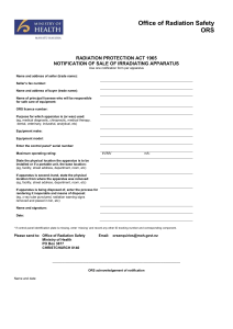 notification of sale of irradiating apparatus