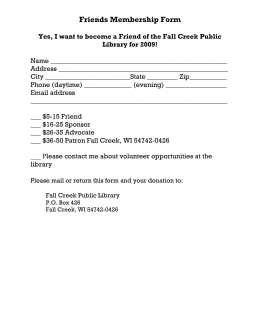 Friends Membership Form - Fall Creek Public Library