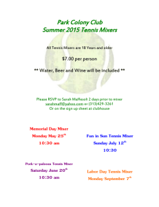 Summer 2015 Tennis Mixers