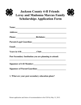 Jackson County 4-H Friends Scholarship Application Form