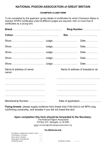 Champion Bird Claim Form - National Pigeon Association