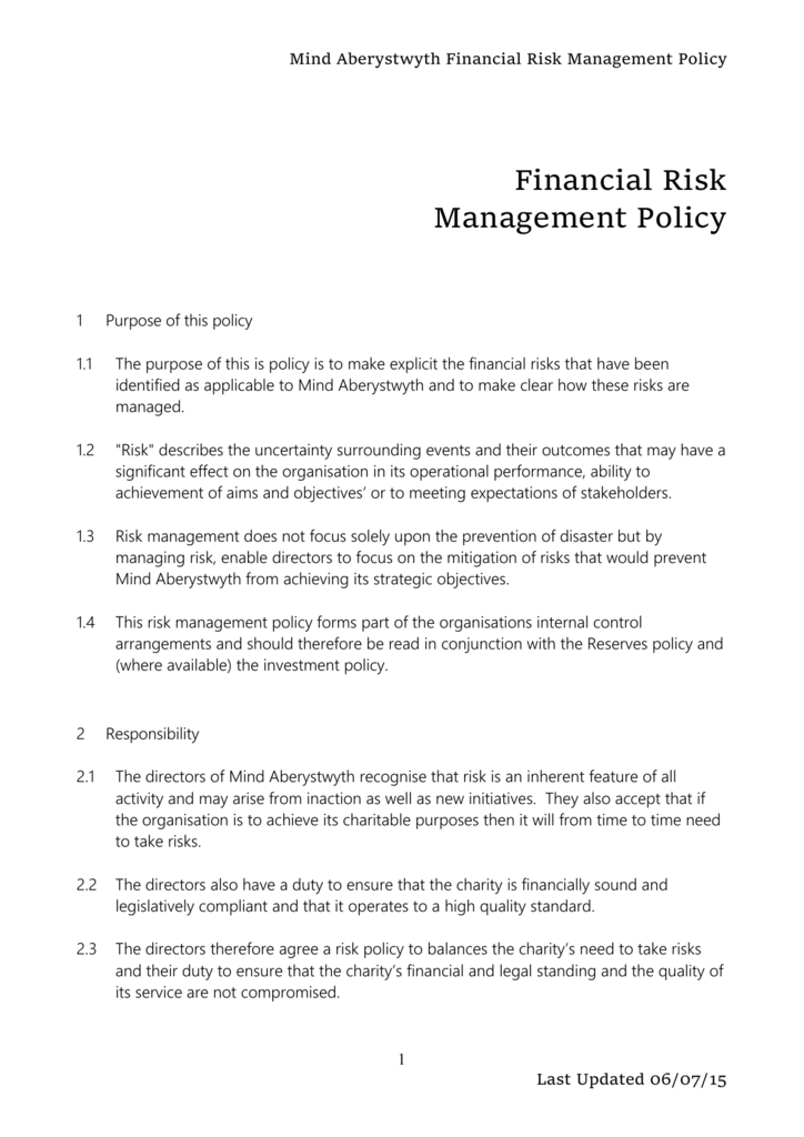 Financial Risk Management Policy