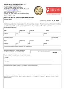 GOLD MEDAL Competition entry form