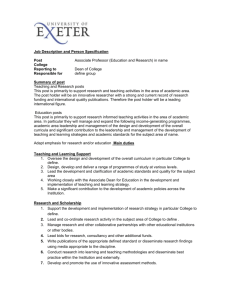 (E&R) job description and person spec