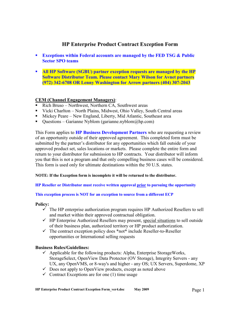 Hp Enterprise Product Contract Exception Form