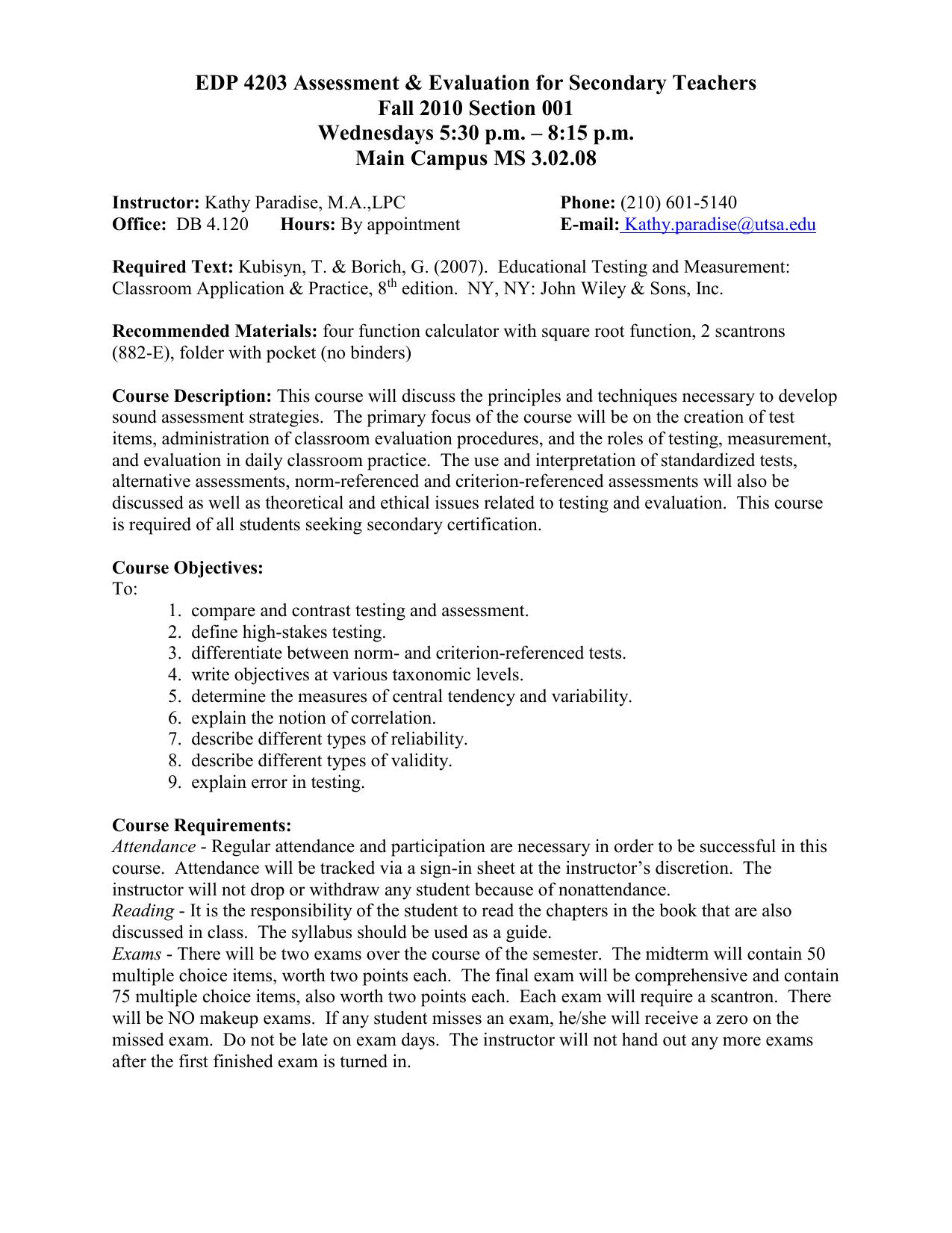 Edp 4203 Assessment Evaluation For Secondary Teachers