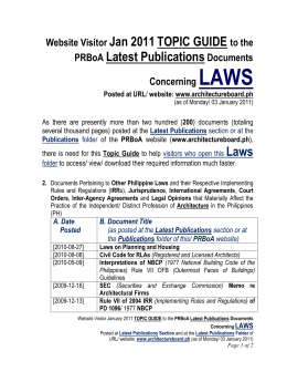 2011 Publications Topic Guide to LAWS Documents