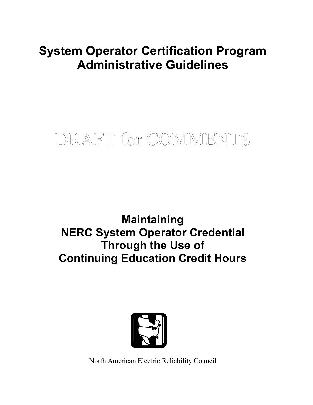 System Operator Certification Program Administrative