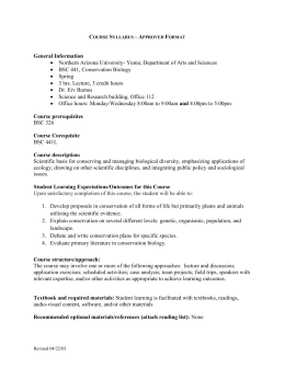 BSC 441 Conservation Biology Master Syllabus