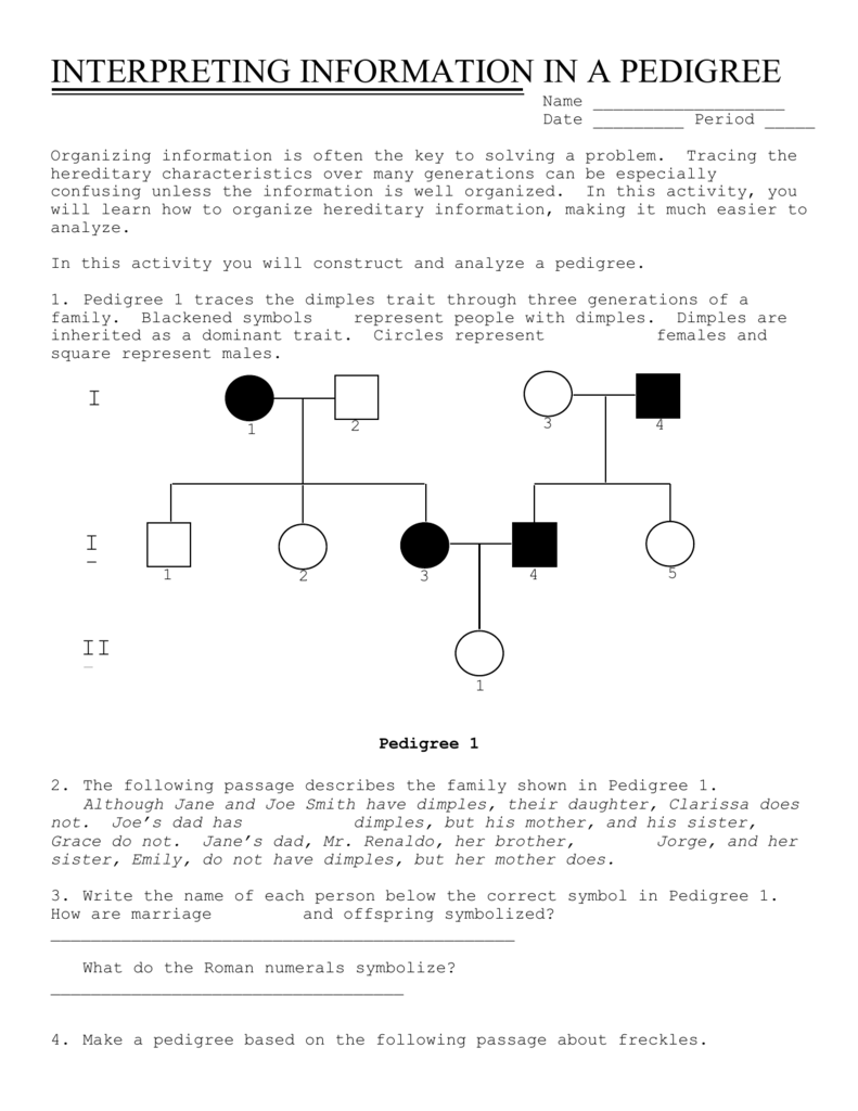 Worksheet Pedigree Worksheet Interpreting A Human