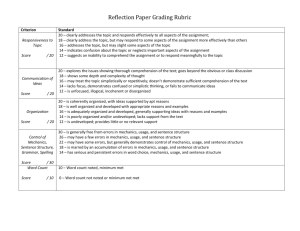 Reflection Paper Grading Rubric