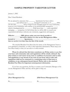 SAMPLE PROPERTY TAKEOVER LETTER