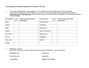 Environments of Sediment Deposition Worksheet