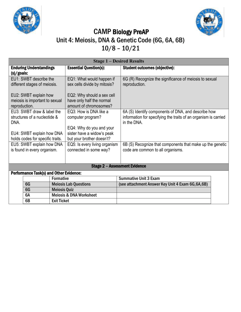 worksheet Dna And Genes Worksheet Answers camp biology preap unit 4 meiosis dna genetic code 6g 6a