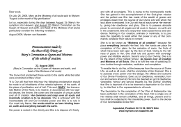 Appeal concerning Mary`s Assumption, to print