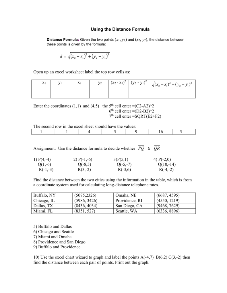 Worksheets Distance Formula Worksheet distance formula given the two points x1 y1 and x2 y2 the
