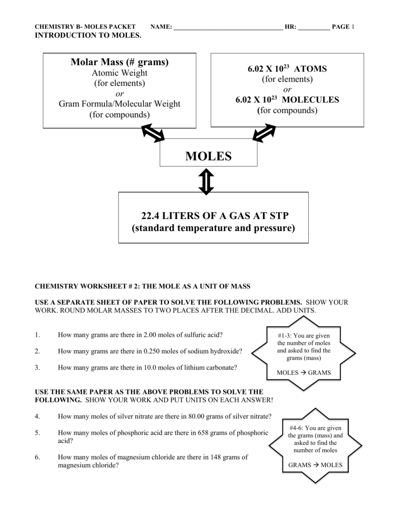 Chemistry Worksheet 2 The Mole As A Unit Of Mass