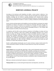 Service Animal Policy - California State University, East Bay