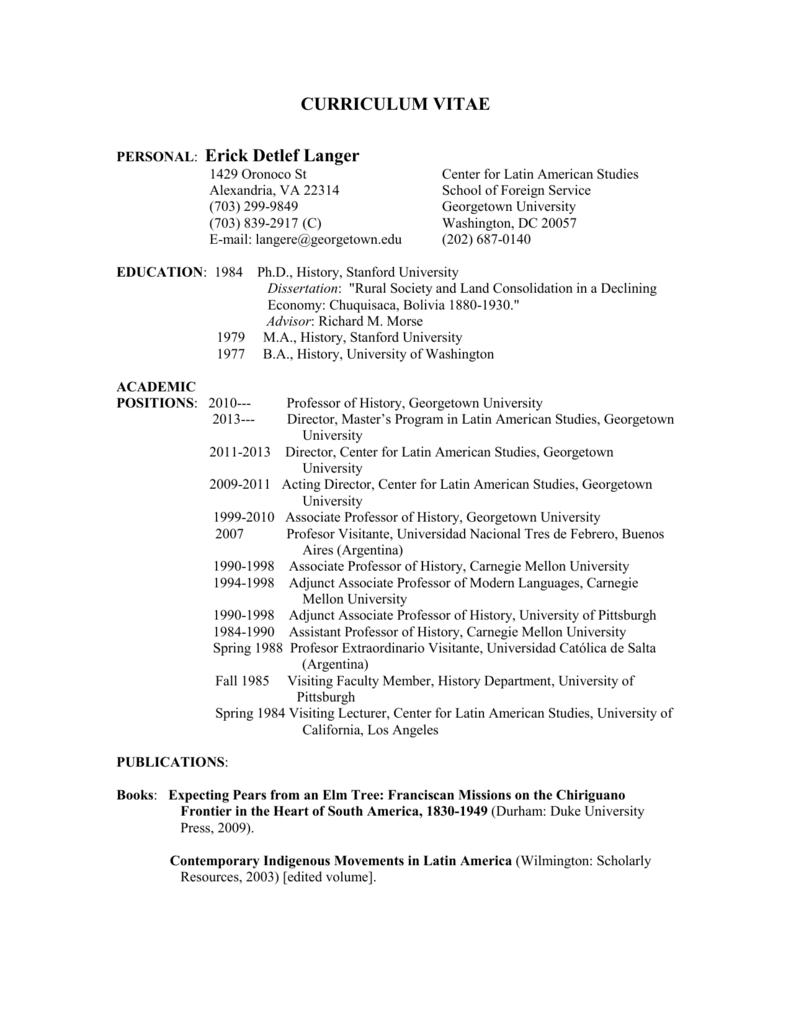 Curriculum Vitae Georgetown University