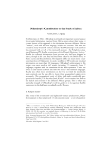 Oldendorp`s Contribution to the Study of Africa