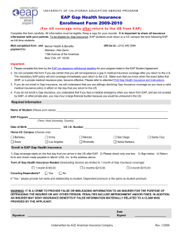GAP Insurance Form 0910 - UC Education Abroad Program